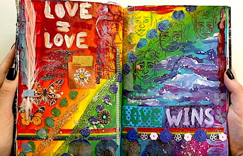 Gay Pride Art Journaling Spread by Berber van Gorp